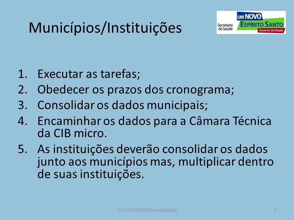Municípios/Instituições 1.Executar as tarefas; 2.Obedecer os prazos dos cronograma; 3.Consolidar os dados municipais; 4.Encaminhar os dados para a Câmara Técnica da CIB micro.