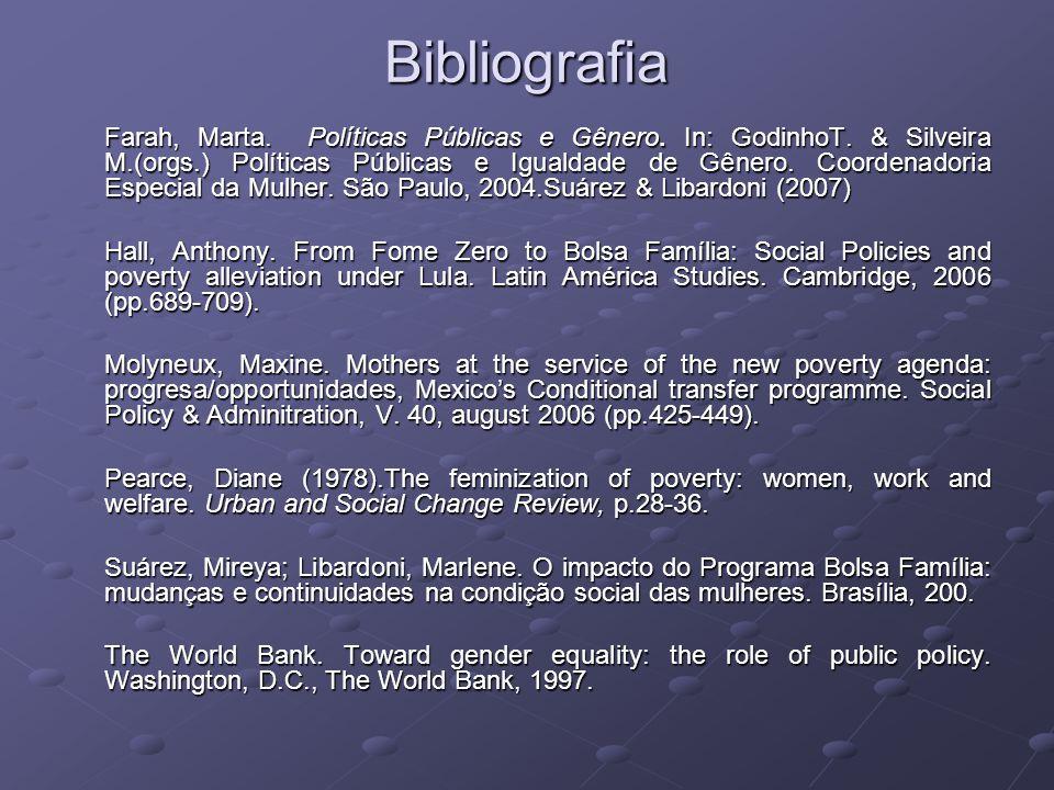 Bibliografia Farah, Marta. Políticas Públicas e Gênero. In: GodinhoT. & Silveira M.(orgs.) Políticas Públicas e Igualdade de Gênero. Coordenadoria Esp