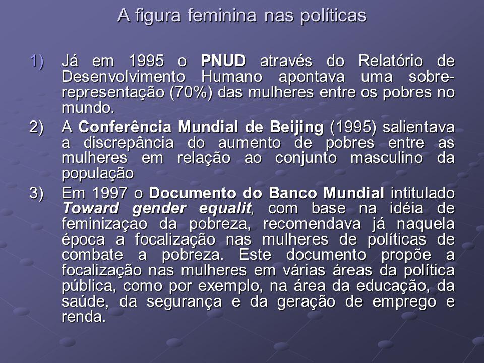 A figura feminina nas políticas A figura feminina nas políticas 1)Já em 1995 o PNUD através do Relatório de Desenvolvimento Humano apontava uma sobre-