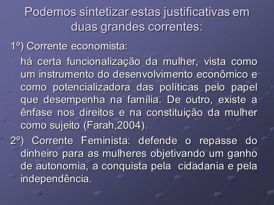 Podemos sintetizar estas justificativas em duas grandes correntes: 1º) Corrente economista: há certa funcionalização da mulher, vista como um instrume