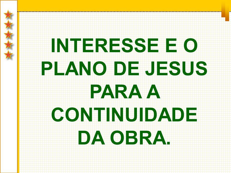 INTERESSE E O PLANO DE JESUS PARA A CONTINUIDADE DA OBRA.