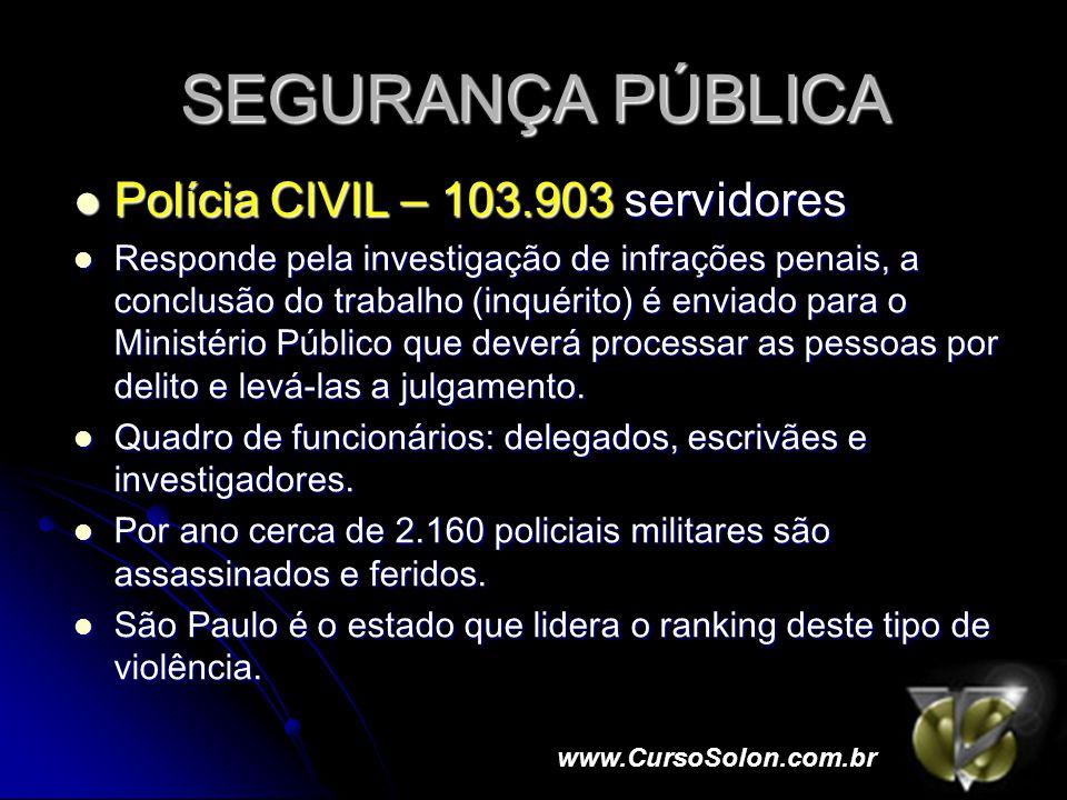 SEGURANÇA PÚBLICA Polícia CIVIL – 103.903 servidores Polícia CIVIL – 103.903 servidores Responde pela investigação de infrações penais, a conclusão do trabalho (inquérito) é enviado para o Ministério Público que deverá processar as pessoas por delito e levá-las a julgamento.