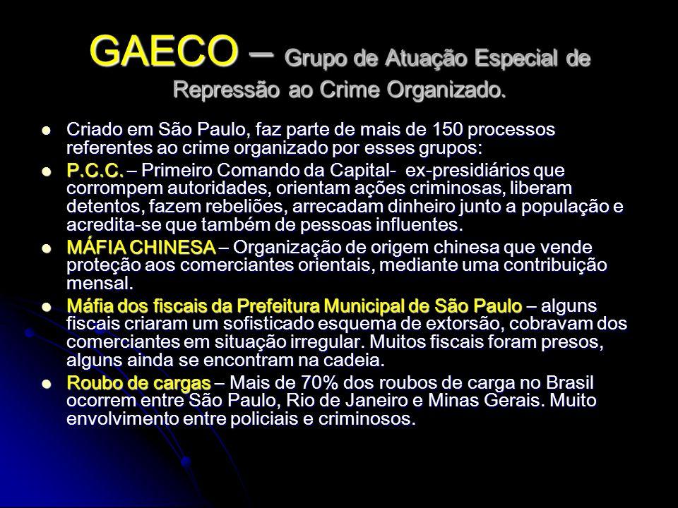 GAECO – Grupo de Atuação Especial de Repressão ao Crime Organizado.