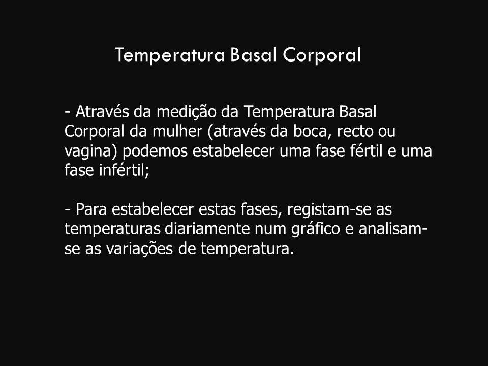 Temperatura Basal Corporal - Através da medição da Temperatura Basal Corporal da mulher (através da boca, recto ou vagina) podemos estabelecer uma fas