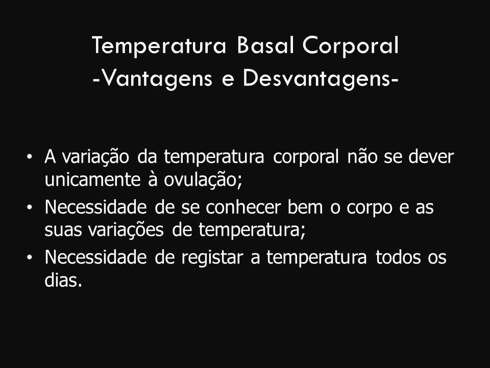 Temperatura Basal Corporal -Vantagens e Desvantagens- A variação da temperatura corporal não se dever unicamente à ovulação; Necessidade de se conhece