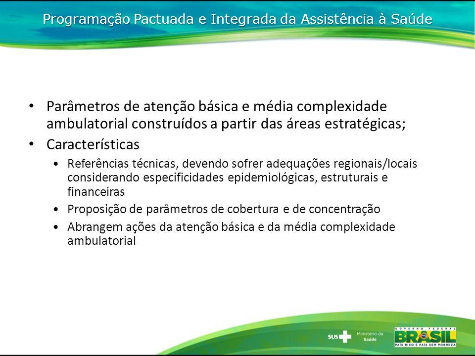 Parâmetros de atenção básica e média complexidade ambulatorial construídos a partir das áreas estratégicas; Características Referências técnicas, deve