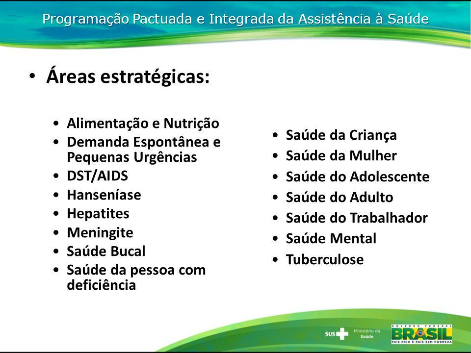 Áreas estratégicas: Alimentação e Nutrição Demanda Espontânea e Pequenas Urgências DST/AIDS Hanseníase Hepatites Meningite Saúde Bucal Saúde da pessoa