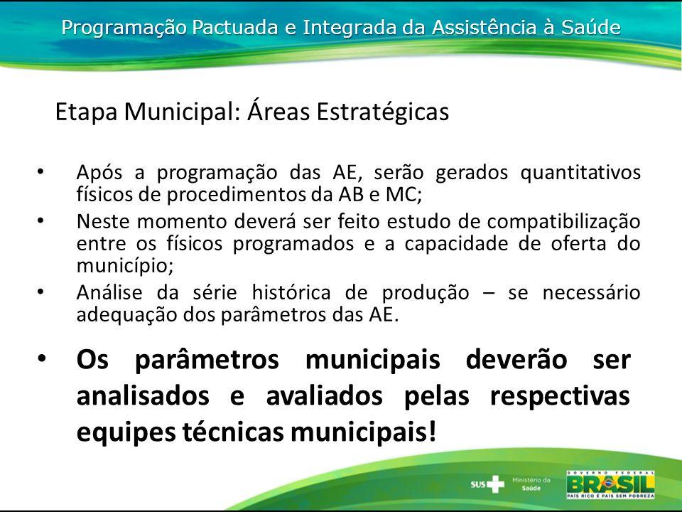 Programação Pactuada e Integrada da Assistência à Saúde Etapa Municipal: Áreas Estratégicas Após a programação das AE, serão gerados quantitativos fís