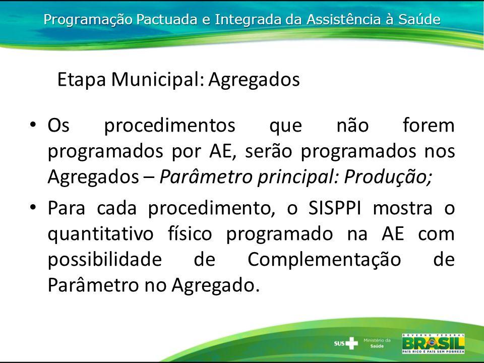 Os procedimentos que não forem programados por AE, serão programados nos Agregados – Parâmetro principal: Produção; Para cada procedimento, o SISPPI m