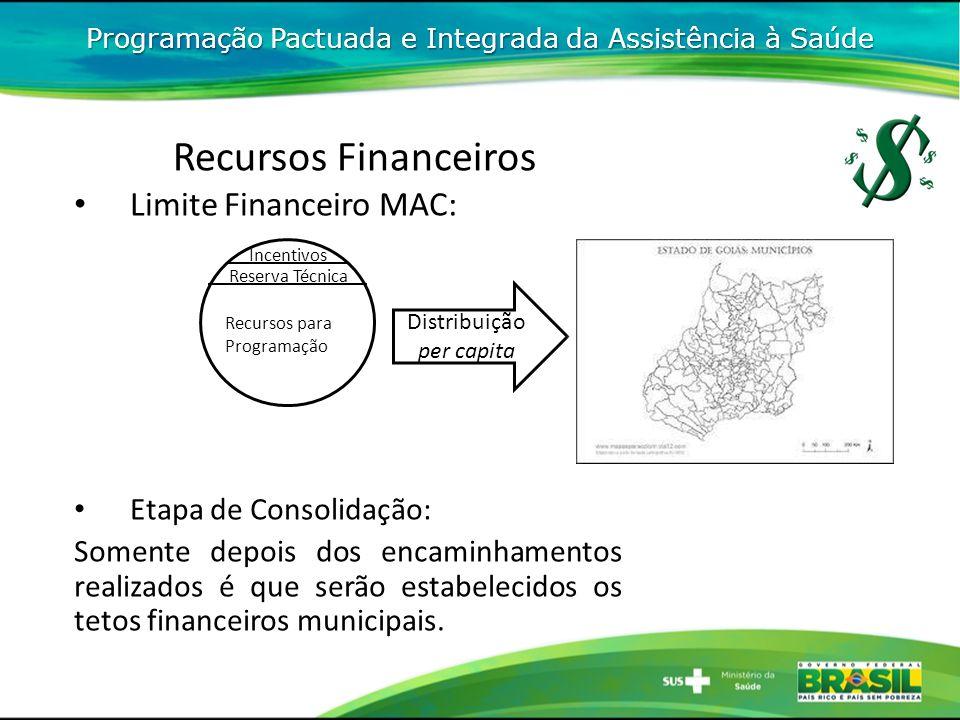 Reserva Técnica Incentivos Programação Pactuada e Integrada da Assistência à Saúde Recursos Financeiros Etapa de Consolidação: Somente depois dos encaminhamentos realizados é que serão estabelecidos os tetos financeiros municipais.
