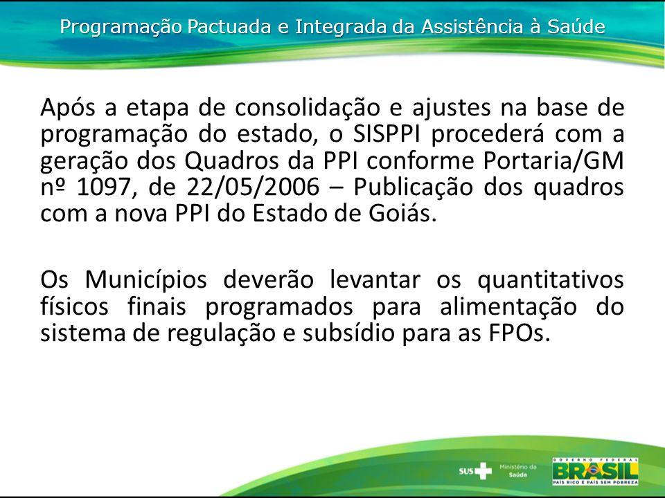 Após a etapa de consolidação e ajustes na base de programação do estado, o SISPPI procederá com a geração dos Quadros da PPI conforme Portaria/GM nº 1