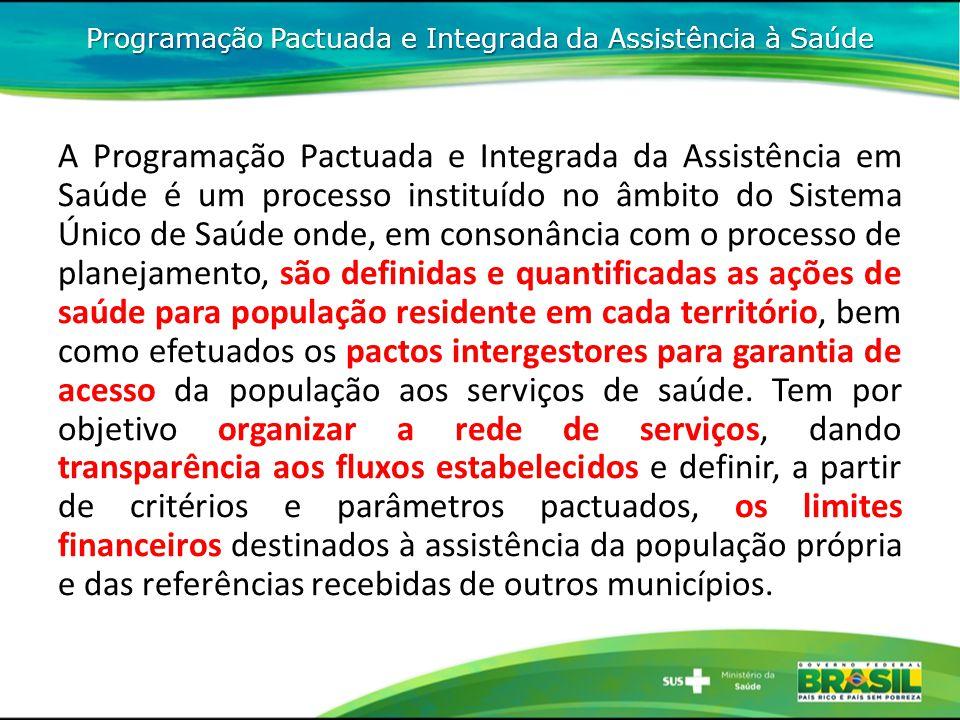 Programação Pactuada e Integrada da Assistência à Saúde A Programação Pactuada e Integrada da Assistência em Saúde é um processo instituído no âmbito