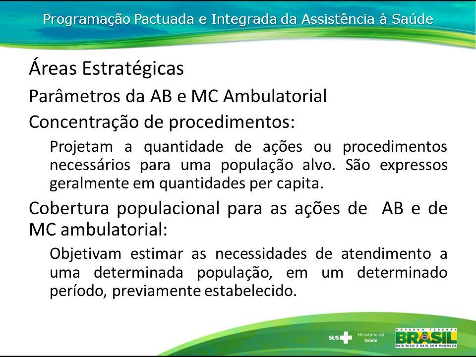 Áreas Estratégicas Parâmetros da AB e MC Ambulatorial Concentração de procedimentos: Projetam a quantidade de ações ou procedimentos necessários para