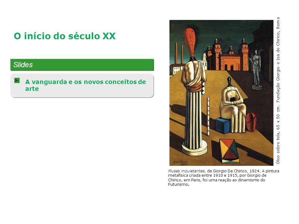 Slides A vanguarda e os novos conceitos de arte O início do século XX Musas inquietantes, de Giorgio De Chirico, 1924. A pintura metafísica criada ent