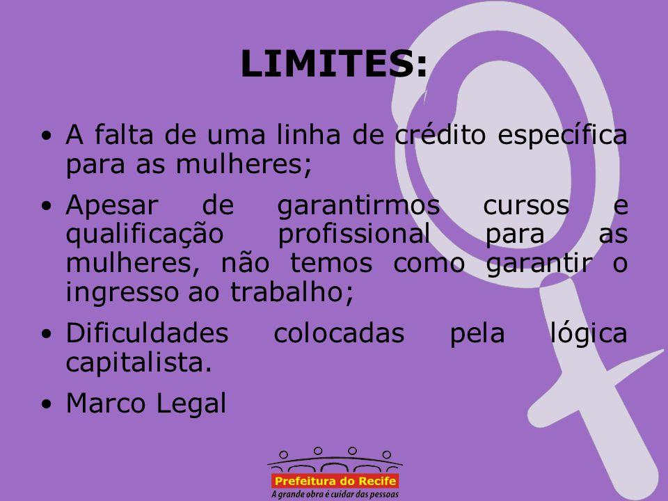 LIMITES: A falta de uma linha de crédito específica para as mulheres; Apesar de garantirmos cursos e qualificação profissional para as mulheres, não t
