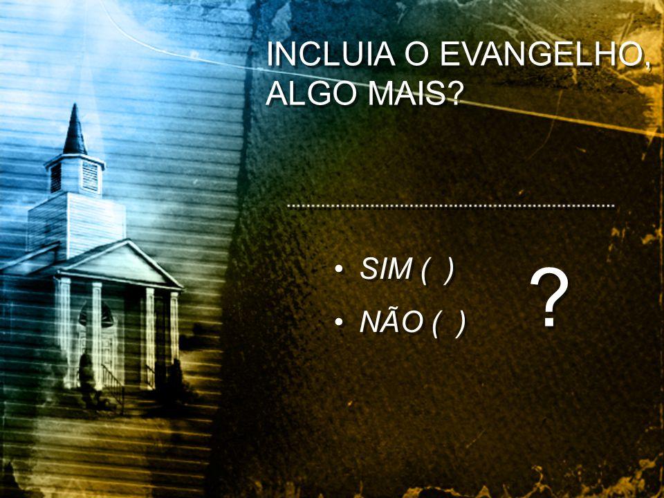 INCLUIA O EVANGELHO, ALGO MAIS? SIM ( ) NÃO ( ) SIM ( ) NÃO ( ) ? ?