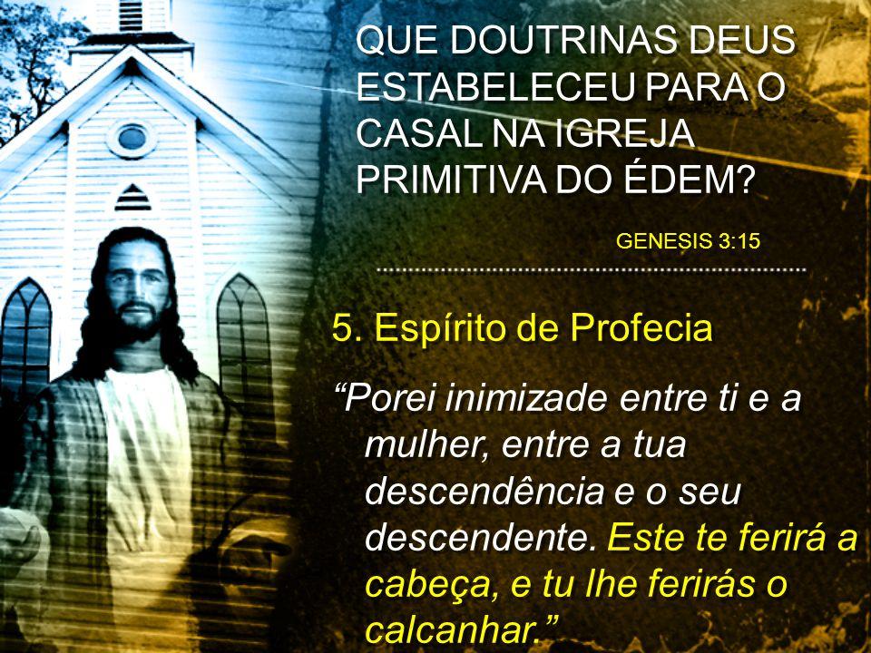 GENESIS 3:15 QUE DOUTRINAS DEUS ESTABELECEU PARA O CASAL NA IGREJA PRIMITIVA DO ÉDEM? 5. Espírito de Profecia Porei inimizade entre ti e a mulher, ent