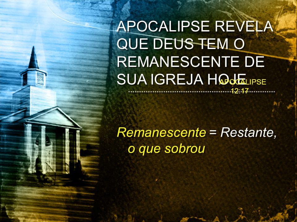 APOCALIPSE REVELA QUE DEUS TEM O REMANESCENTE DE SUA IGREJA HOJE Remanescente = Restante, o que sobrou APOCALIPSE 12:17