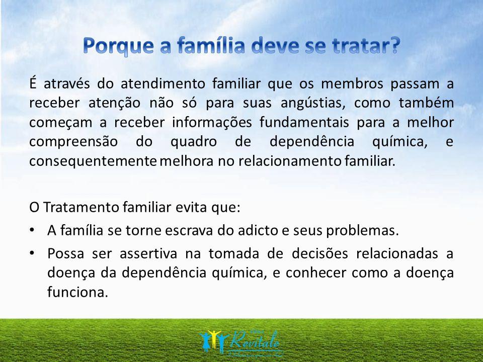 É através do atendimento familiar que os membros passam a receber atenção não só para suas angústias, como também começam a receber informações fundam