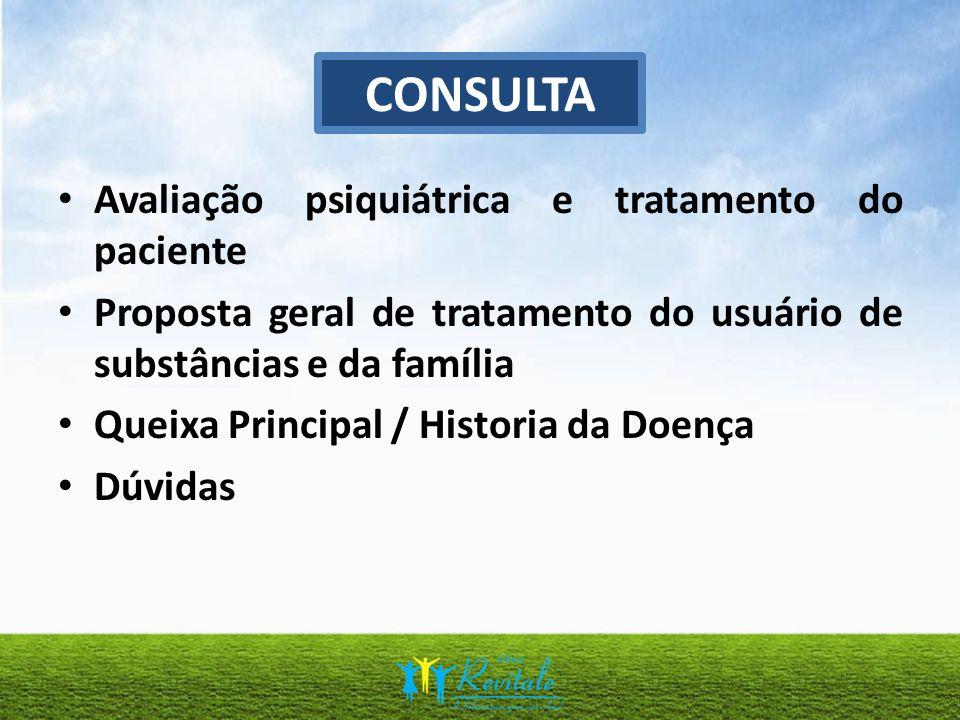 Avaliação psiquiátrica e tratamento do paciente Proposta geral de tratamento do usuário de substâncias e da família Queixa Principal / Historia da Doe