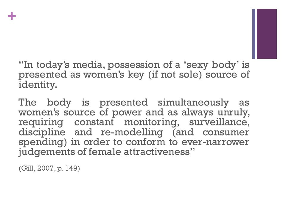 + In todays media, possession of a sexy body is presented as womens key (if not sole) source of identity.