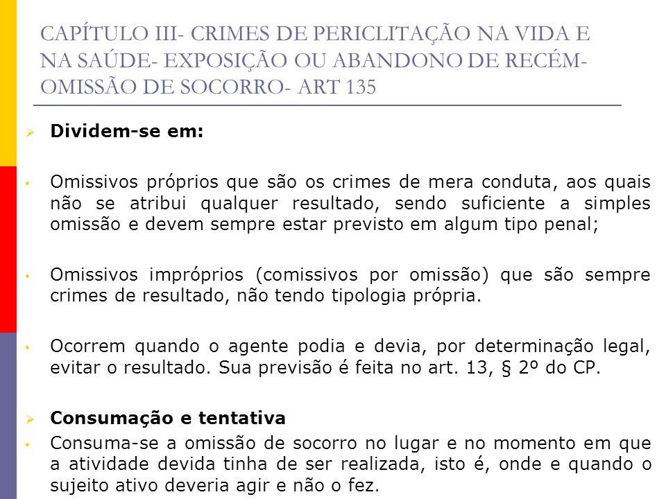 CAPÍTULO III- CRIMES DE PERICLITAÇÃO NA VIDA E NA SAÚDE- EXPOSIÇÃO OU ABANDONO DE RECÉM- OMISSÃO DE SOCORRO- ART 135 Dividem-se em: Omissivos próprios