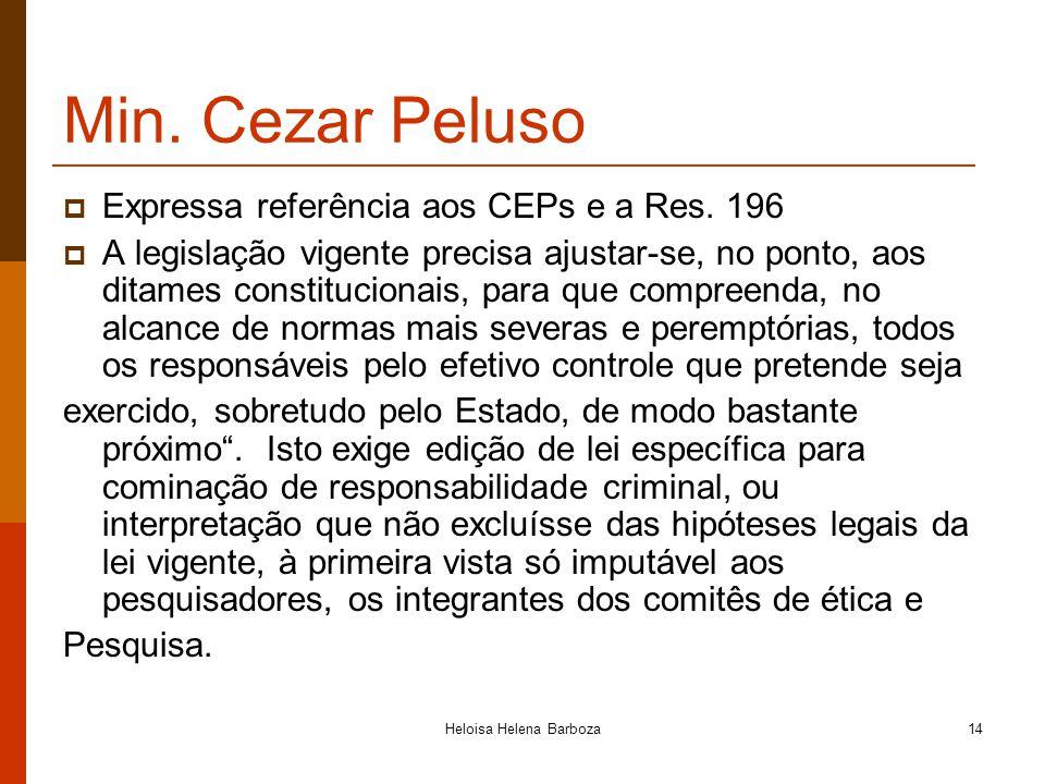 Heloisa Helena Barboza14 Min. Cezar Peluso Expressa referência aos CEPs e a Res. 196 A legislação vigente precisa ajustar-se, no ponto, aos ditames co