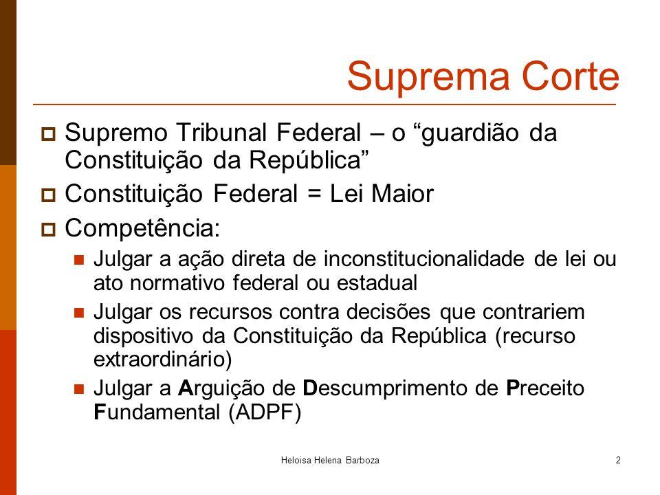 2 Suprema Corte Supremo Tribunal Federal – o guardião da Constituição da República Constituição Federal = Lei Maior Competência: Julgar a ação direta