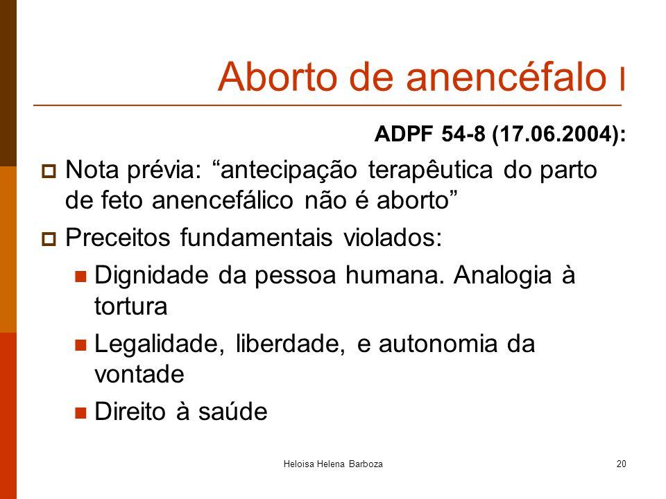 Heloisa Helena Barboza20 Aborto de anencéfalo I ADPF 54-8 (17.06.2004): Nota prévia: antecipação terapêutica do parto de feto anencefálico não é abort