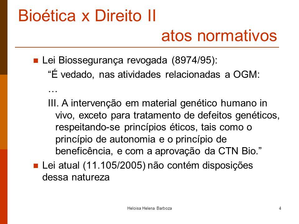 Heloisa Helena Barboza4 Bioética x Direito II atos normativos Lei Biossegurança revogada (8974/95): É vedado, nas atividades relacionadas a OGM: … III