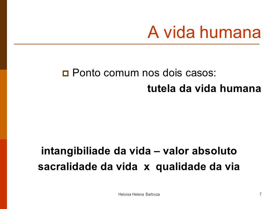 Heloisa Helena Barboza7 A vida humana Ponto comum nos dois casos: tutela da vida humana intangibiliade da vida – valor absoluto sacralidade da vida x