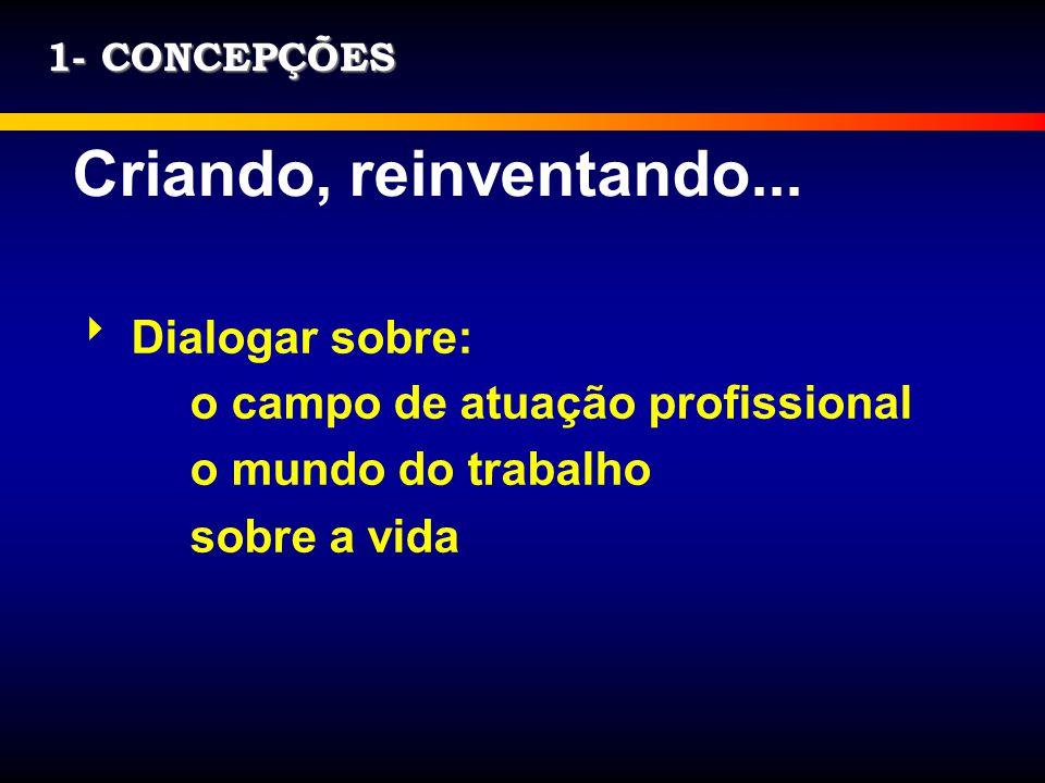 1- CONCEPÇÕES Criando, reinventando... Dialogar sobre: o campo de atuação profissional o mundo do trabalho sobre a vida