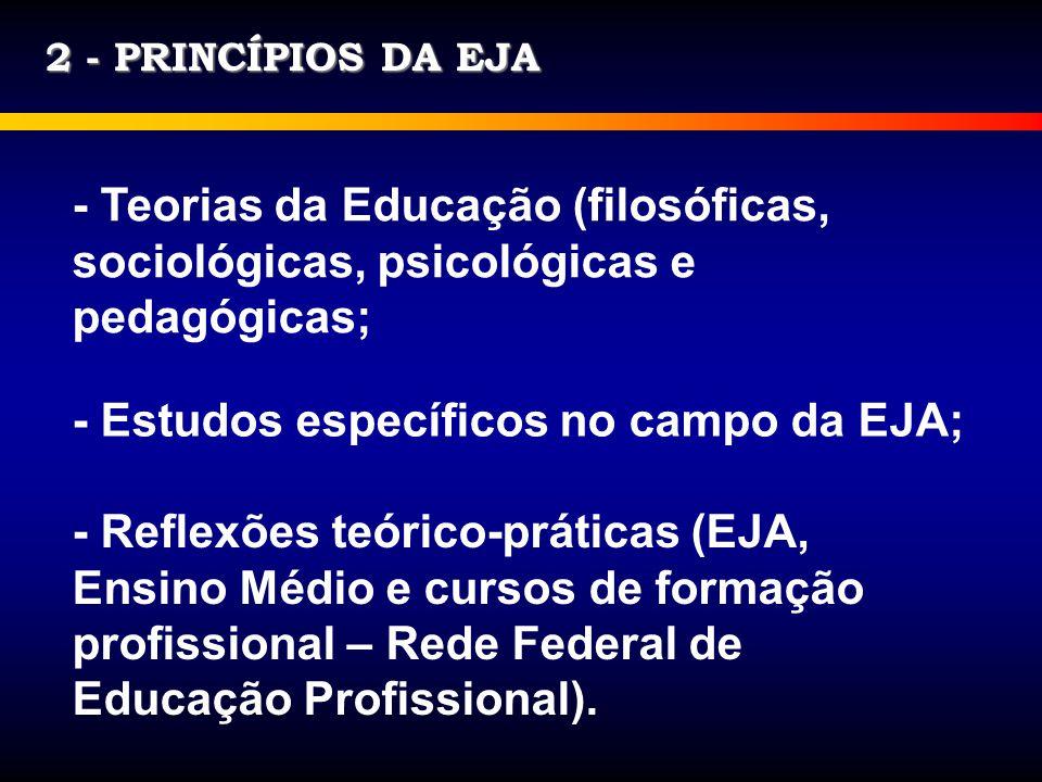 2 - PRINCÍPIOS DA EJA - Teorias da Educação (filosóficas, sociológicas, psicológicas e pedagógicas; - Estudos específicos no campo da EJA; - Reflexões