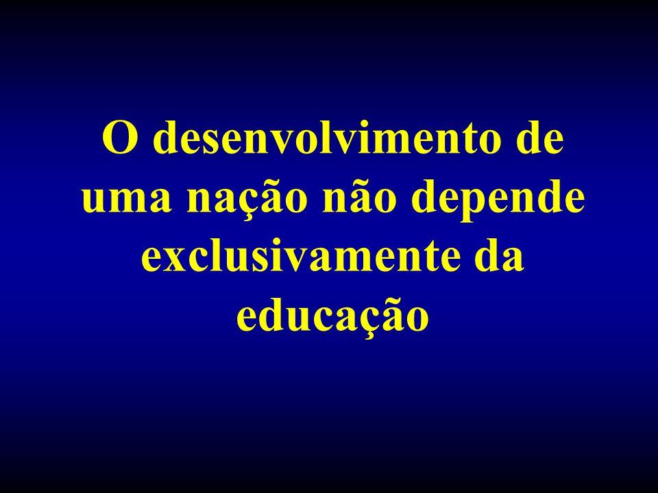 O desenvolvimento de uma nação não depende exclusivamente da educação