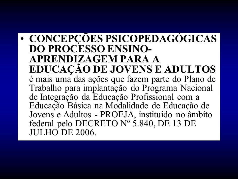 CONCEPÇÕES PSICOPEDAGÓGICAS DO PROCESSO ENSINO- APRENDIZAGEM PARA A EDUCAÇÃO DE JOVENS E ADULTOS é mais uma das ações que fazem parte do Plano de Trab