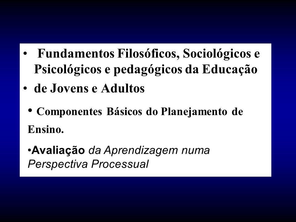 Fundamentos Filosóficos, Sociológicos e Psicológicos e pedagógicos da Educação de Jovens e Adultos Componentes Básicos do Planejamento de Ensino. Aval