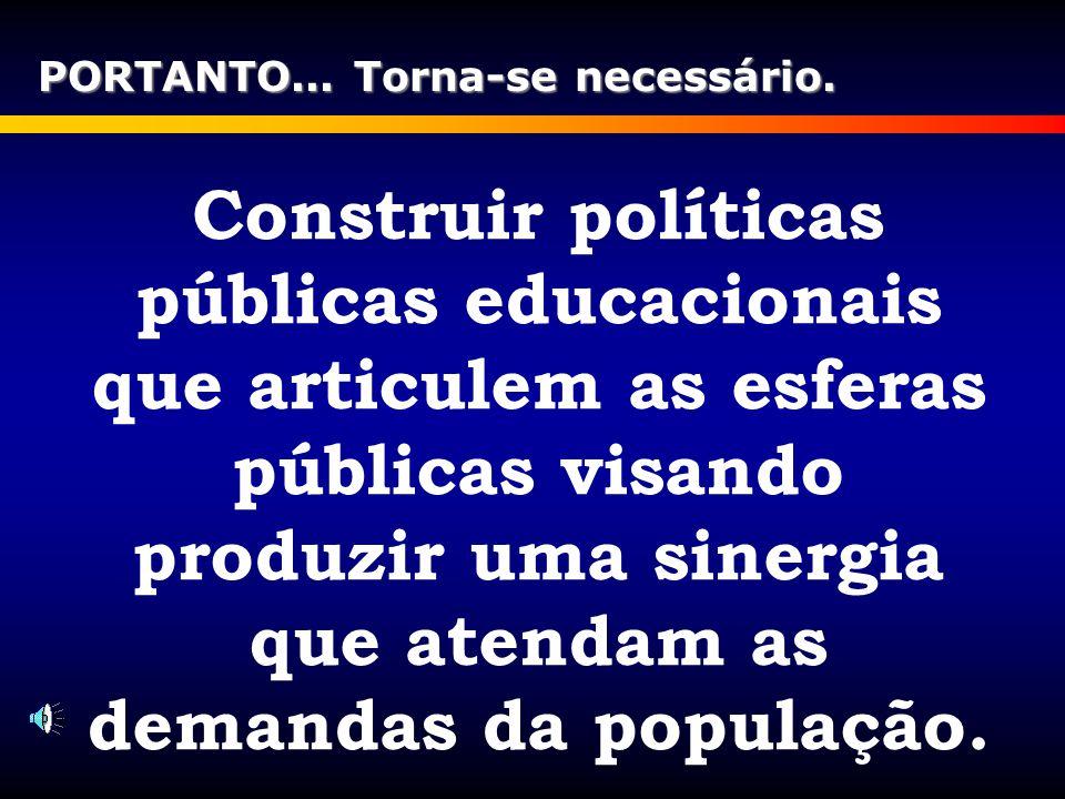 Construir políticas públicas educacionais que articulem as esferas públicas visando produzir uma sinergia que atendam as demandas da população. PORTAN