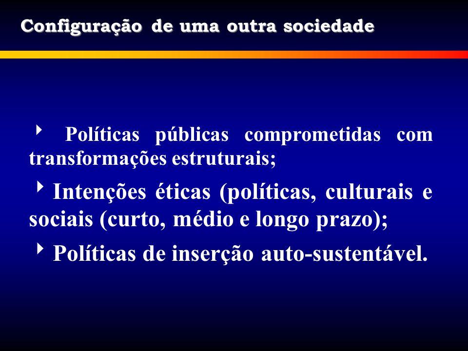 Configuração de uma outra sociedade Políticas públicas comprometidas com transformações estruturais; Intenções éticas (políticas, culturais e sociais