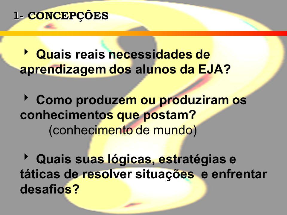1- CONCEPÇÕES Quais reais necessidades de aprendizagem dos alunos da EJA? Como produzem ou produziram os conhecimentos que postam? (conhecimento de mu