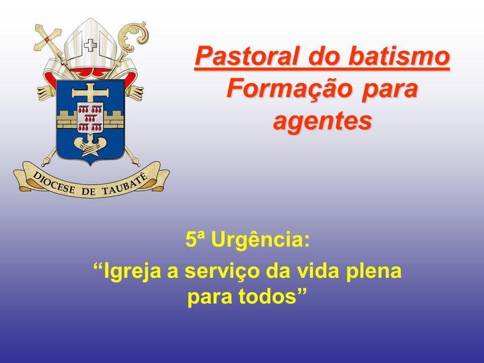 Pastoral do batismo Formação para agentes 5ª Urgência: Igreja a serviço da vida plena para todos