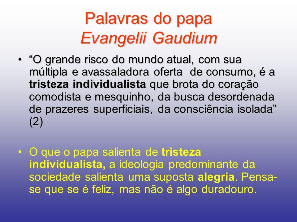 Palavras do papa Evangelii Gaudium O grande risco do mundo atual, com sua múltipla e avassaladora oferta de consumo, é a tristeza individualista que b