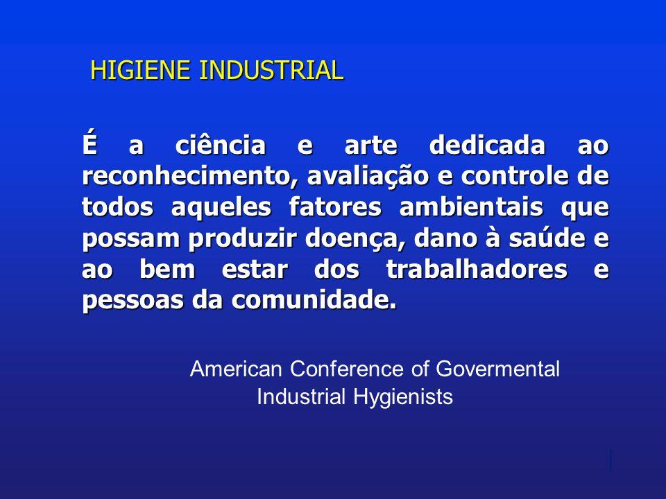 HIGIENE INDUSTRIAL É a ciência e arte dedicada ao reconhecimento, avaliação e controle de todos aqueles fatores ambientais que possam produzir doença,