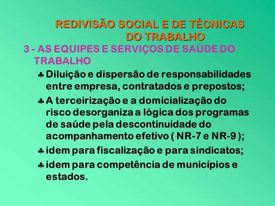 REDIVISÃO SOCIAL E DE TÉCNICAS DO TRABALHO 3 - AS EQUIPES E SERVIÇOS DE SAÚDE DO TRABALHO Diluição e dispersão de responsabilidades entre empresa, con