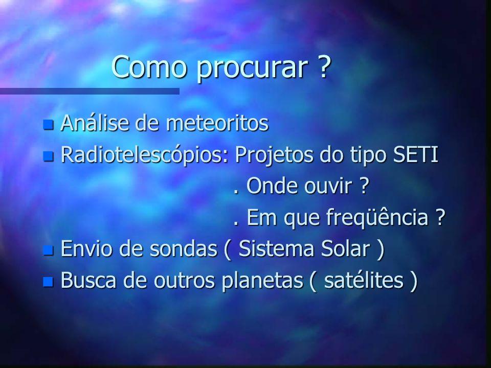 Onde procurar ? n Excluir sistemas planetários de estrelas massivas (M > 10 M o ) e de baixa massa (M 10 M o ) e de baixa massa (M < 0,8M o ) n Estrel