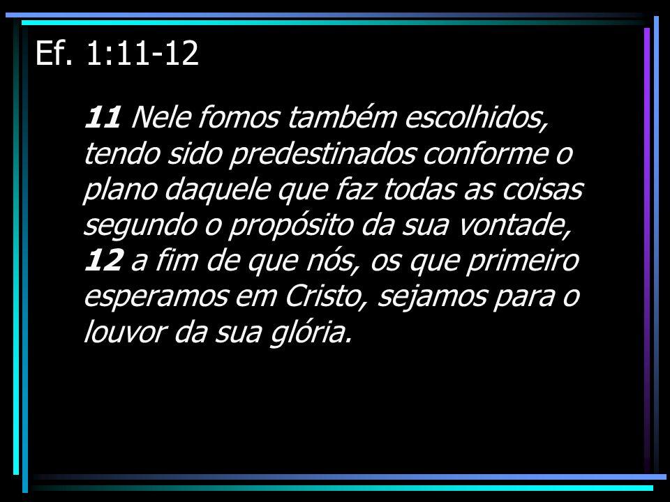 Ef. 1:11-12 11 Nele fomos também escolhidos, tendo sido predestinados conforme o plano daquele que faz todas as coisas segundo o propósito da sua vont