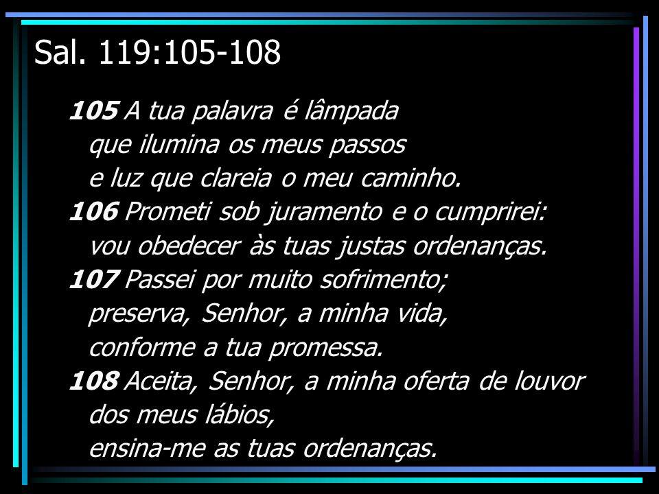 Sal. 119:105-108 105 A tua palavra é lâmpada que ilumina os meus passos e luz que clareia o meu caminho. 106 Prometi sob juramento e o cumprirei: vou