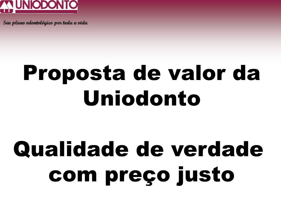 Proposta de valor da Uniodonto Qualidade de verdade com preço justo