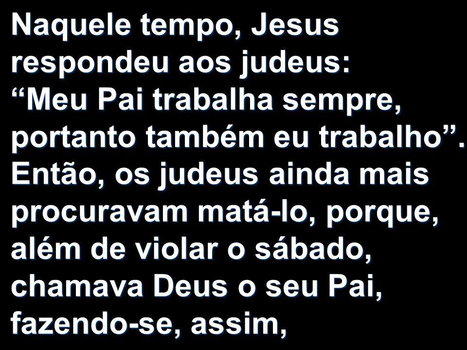 Naquele tempo, Jesus respondeu aos judeus: Meu Pai trabalha sempre, portanto também eu trabalho.