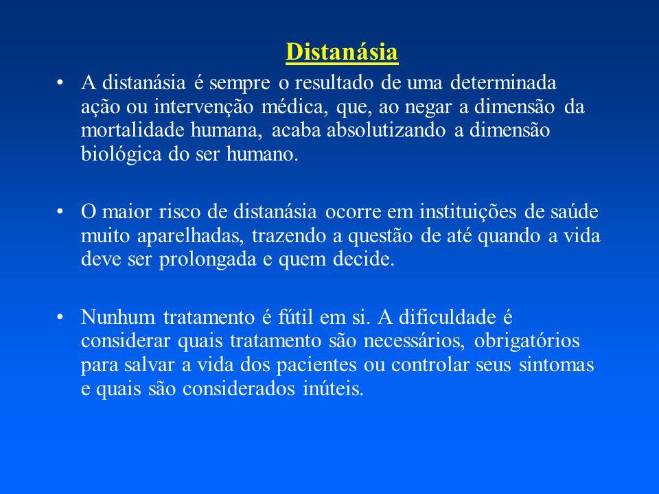 Distanásia A distanásia é sempre o resultado de uma determinada ação ou intervenção médica, que, ao negar a dimensão da mortalidade humana, acaba absolutizando a dimensão biológica do ser humano.