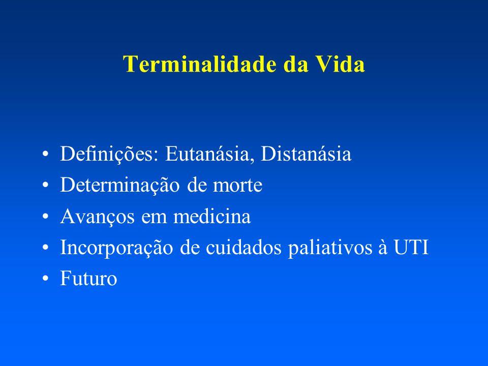 Definições: Eutanásia, Distanásia Determinação de morte Avanços em medicina Incorporação de cuidados paliativos à UTI Futuro Terminalidade da Vida